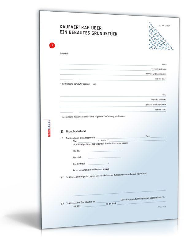 Vertrag Hauskauf pdf