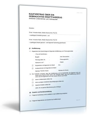 Kfz-Kaufvertrag (gewerblicher Verkauf)