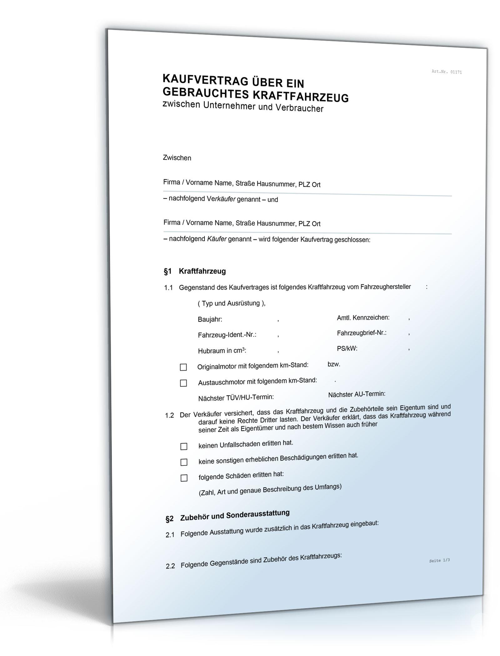 kfz kaufvertrag gewerblicher verkauf - Pkw Kaufvertrag Muster