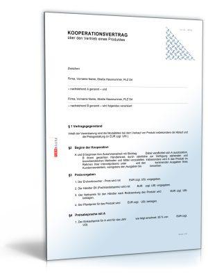 Kooperationsvertrag über den Vertrieb eines Produktes
