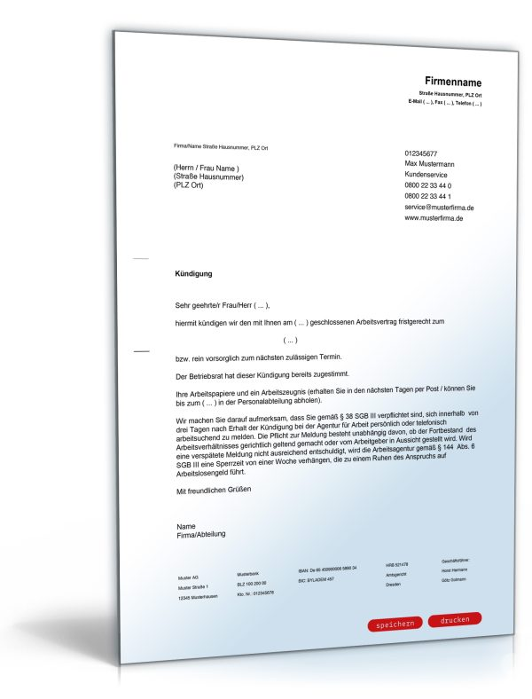 Kündigung Arbeitsvertrag (fristgemäß, Arbeitgeber) 1