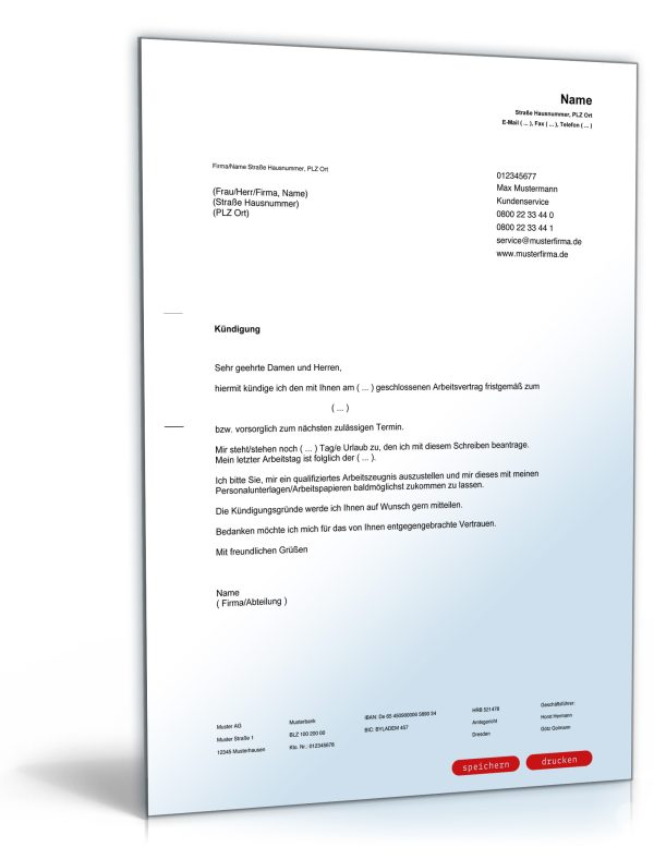 Kündigung Arbeitsvertrag (fristgemäß, Arbeitnehmer) 1
