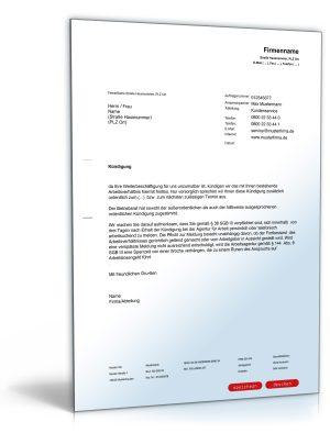 Kündigung Arbeitsvertrag (fristlos, Arbeitgeber)
