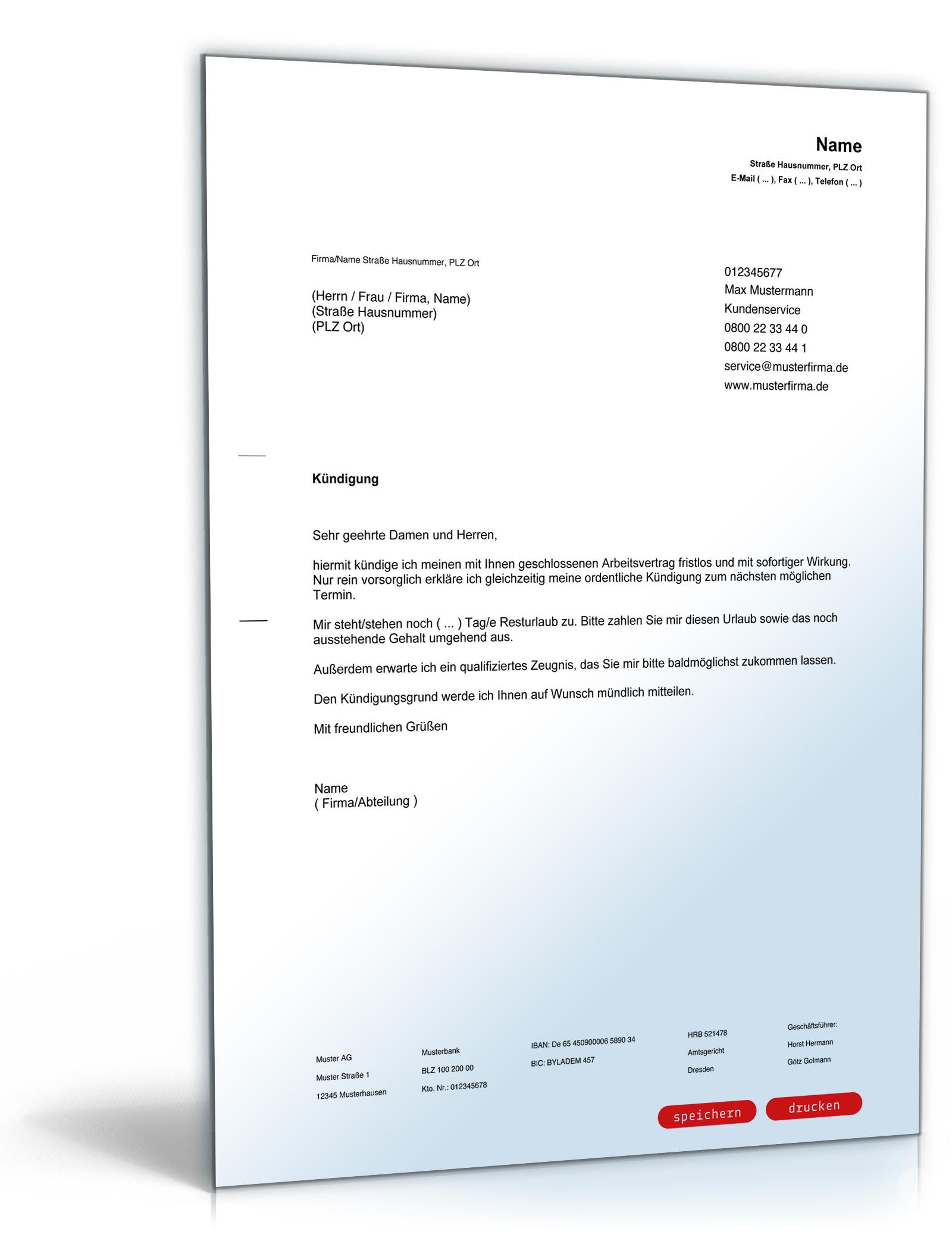 Kündigung Arbeitsvertrag (fristlos, Arbeitnehmer) ⋆