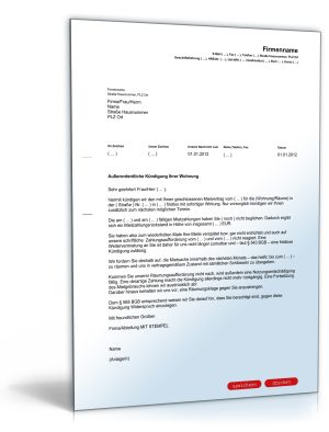 Kündigung Mietvertrag (fristlos, Vermieter, Mietschuld)