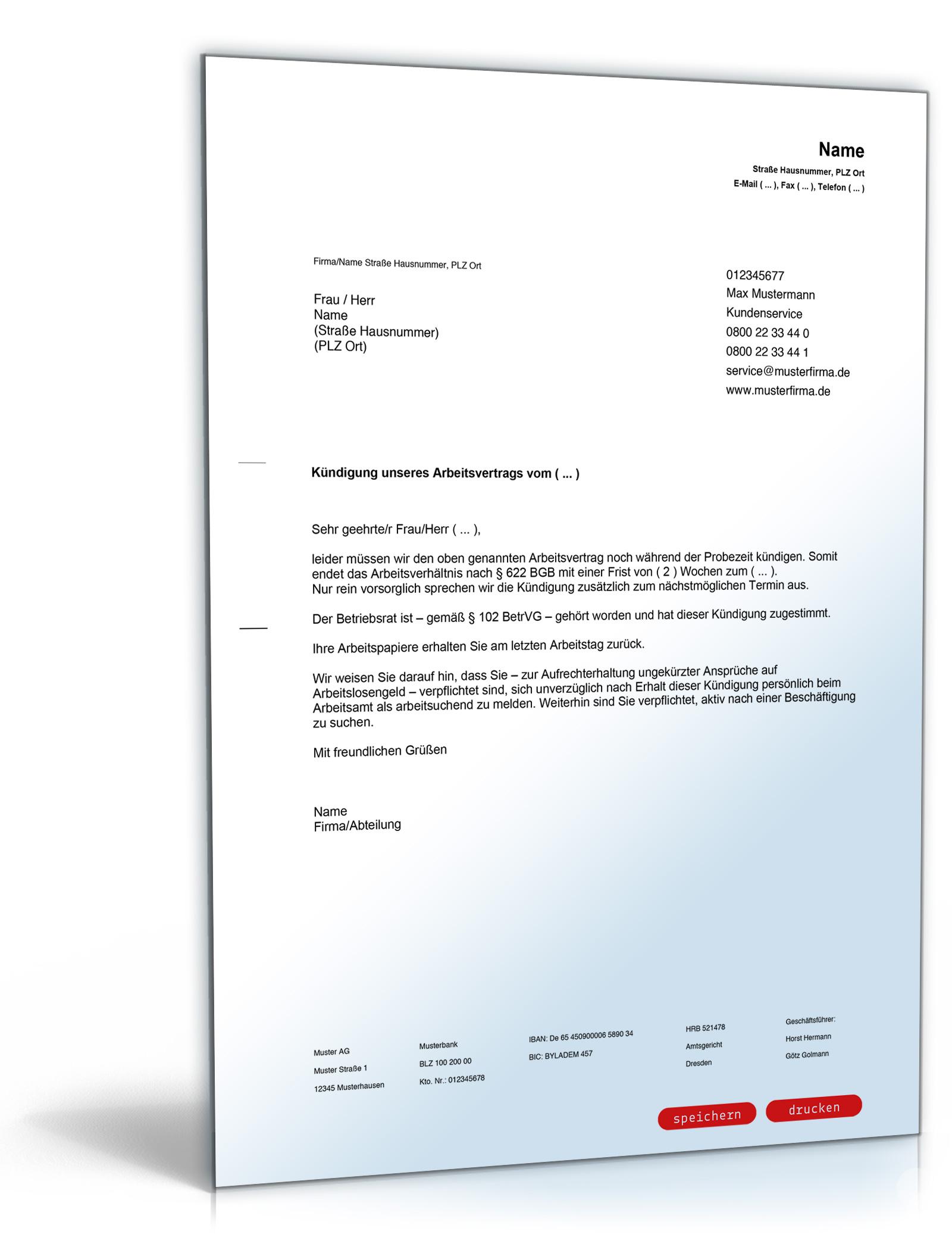 Kündigung Arbeitsvertrag (fristgemäß, Arbeitgeber)