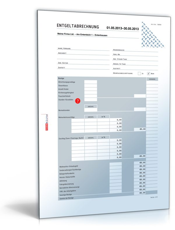 Lohnabrechnung / Gehaltsabrechnung 2014 1