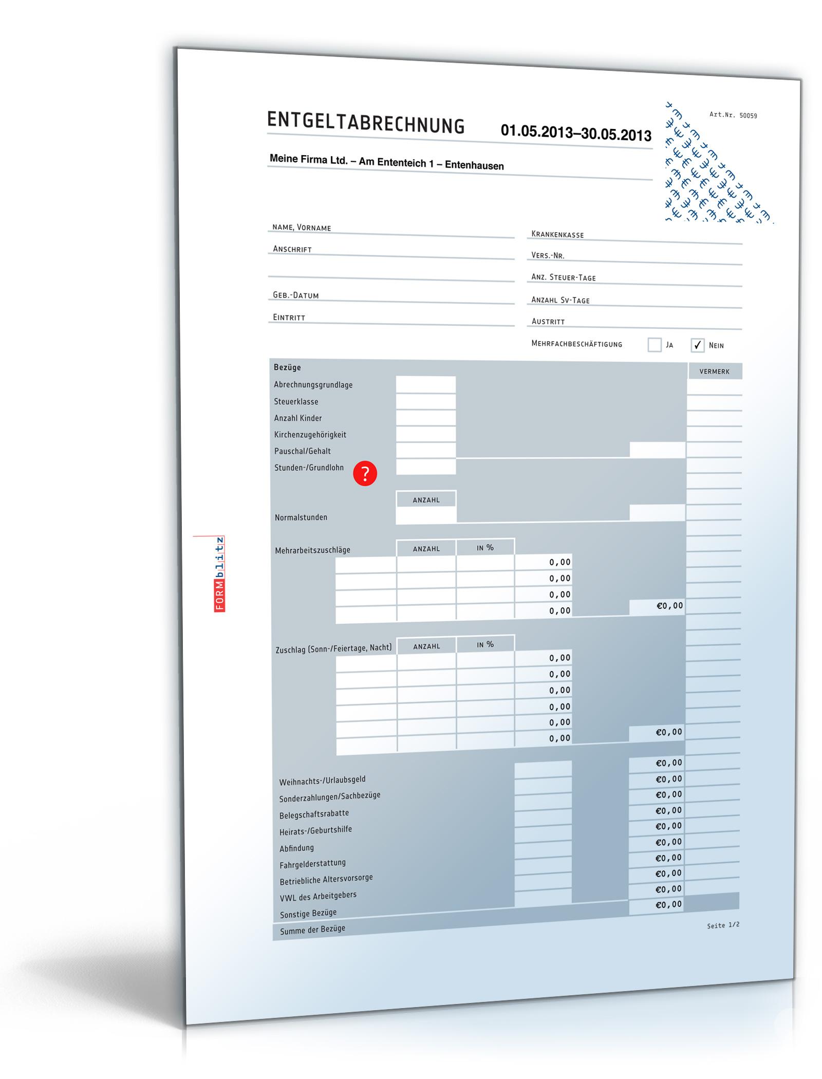 Lohnabrechnung / Gehaltsabrechnung 2014