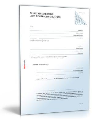 Zusatzvereinbarung über gewerbliche Nutzung einer Mietwohnung