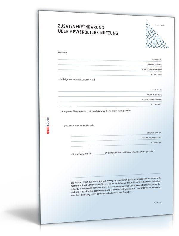 Zusatzvereinbarung über gewerbliche Nutzung einer Mietwohnung 1