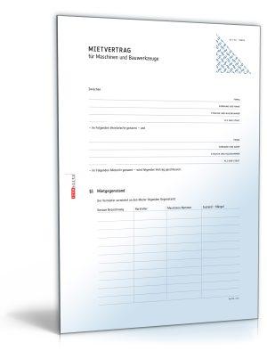 Mietvertrag für Maschinen und Bauwerkzeuge