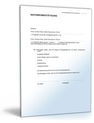 Nachweisbestätigung und Provisionsvereinbarung