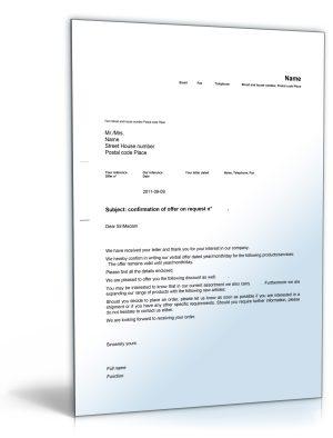 Geschäftsbrief Angebot auf Anfrage (Englisch)