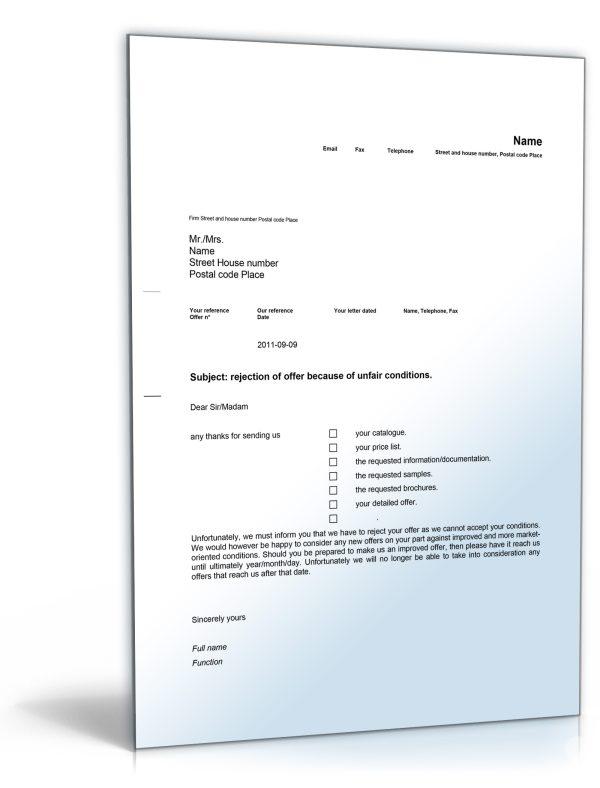 Geschäftsbrief Ablehnung Angebot (Englisch) 1