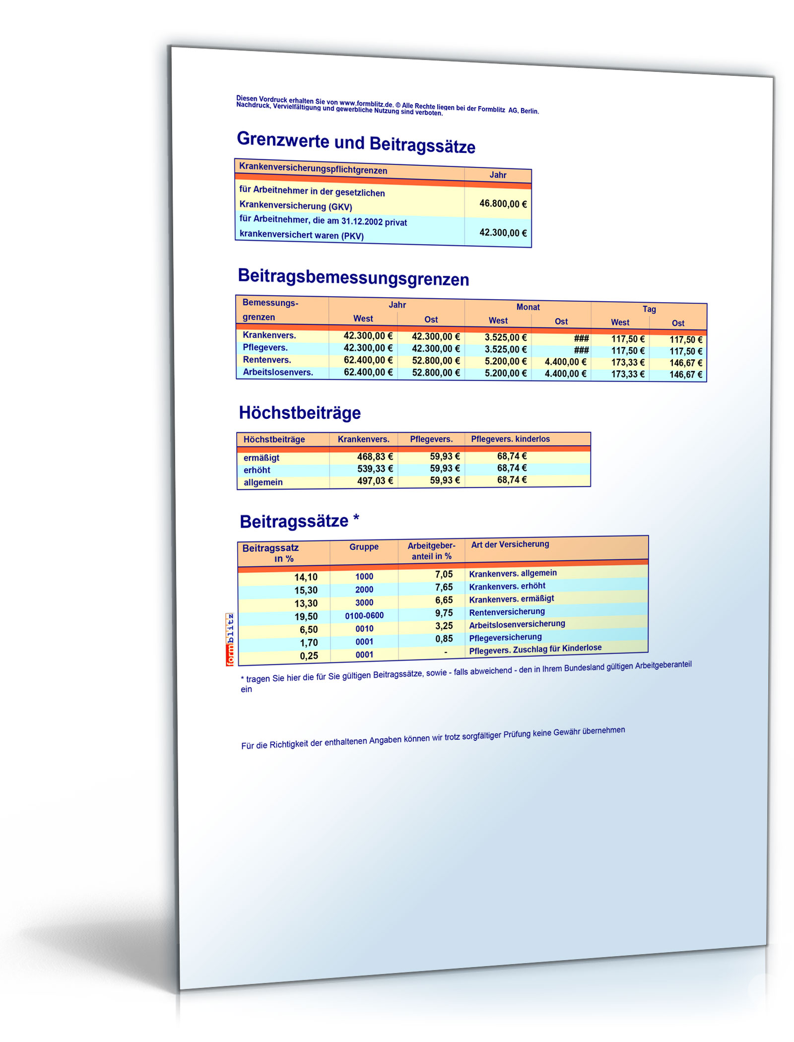 FORMBLITZ-Tabelle 2005/2006 - Sammlung div. Pauschalsätze