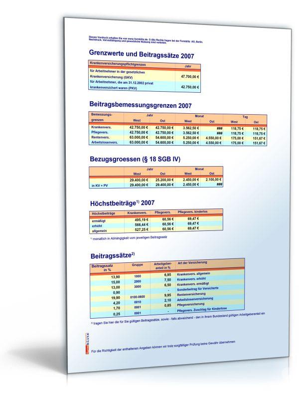 FORMBLITZ-Tabelle 2006/2007 – Sammlung diverser Pauschalsätze 1
