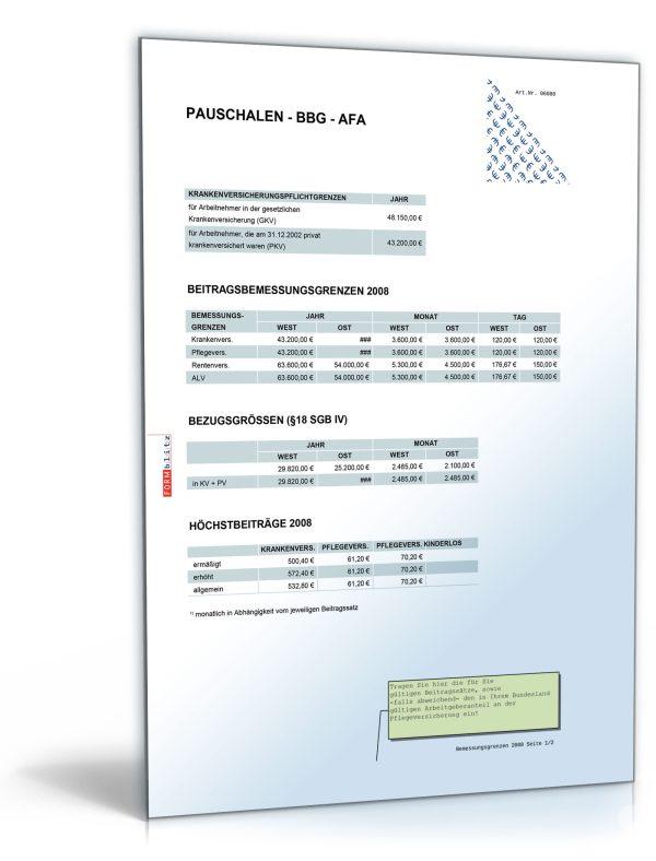 FORMBLITZ-Tabelle 2007/2008 – Sammlung diverser Pauschalsätze 1