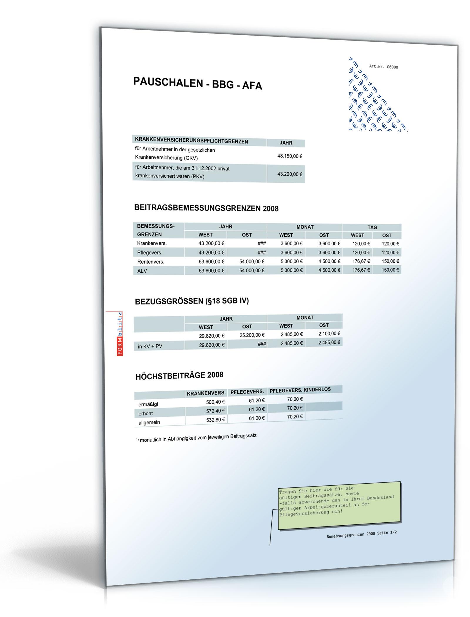 FORMBLITZ-Tabelle 2007/2008 - Sammlung diverser Pauschalsätze