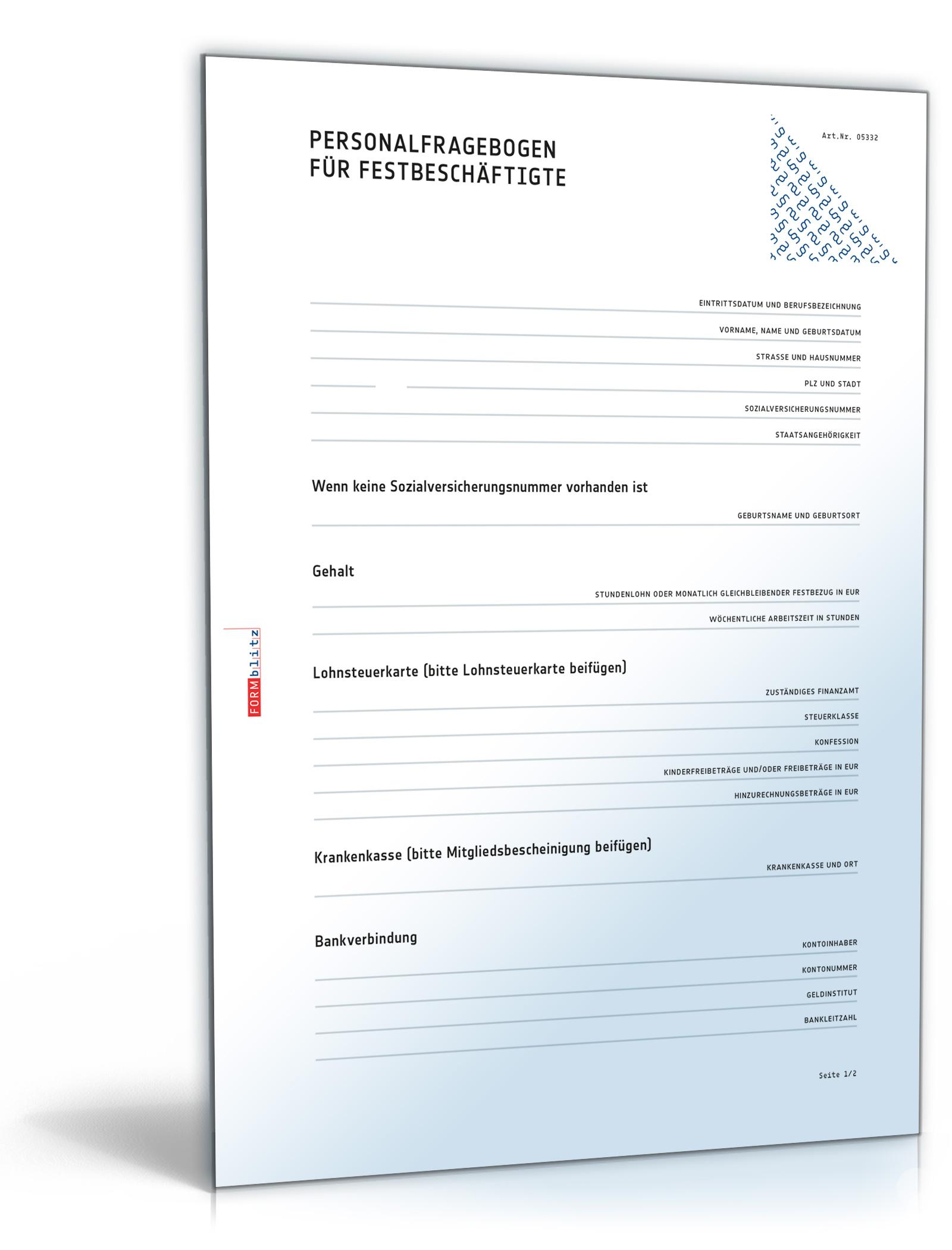 Personalfragebogen für Festbeschäftigte