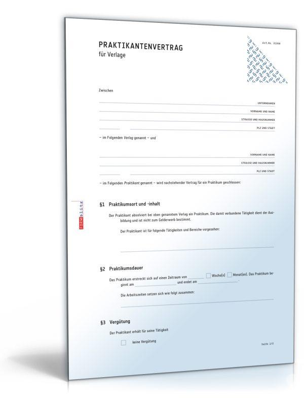 Praktikantenvertrag für Verlage 1