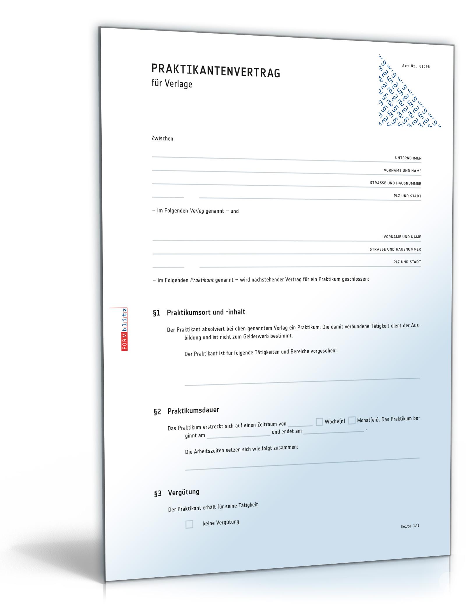 Praktikantenvertrag für Verlage