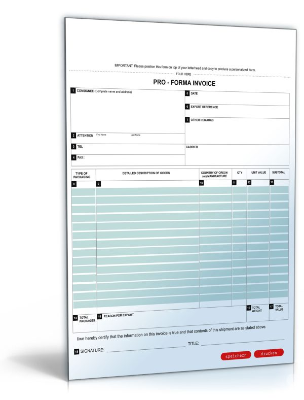 Pro-Forma-Rechnung / Pro Forma Invoice 1