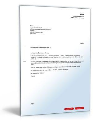 Reiserücktrittserklärung (bei Reiserücktrittskostenversicherung)