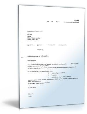 Geschäftsbrief Anfrage nach weiteren Informationen (Englisch)