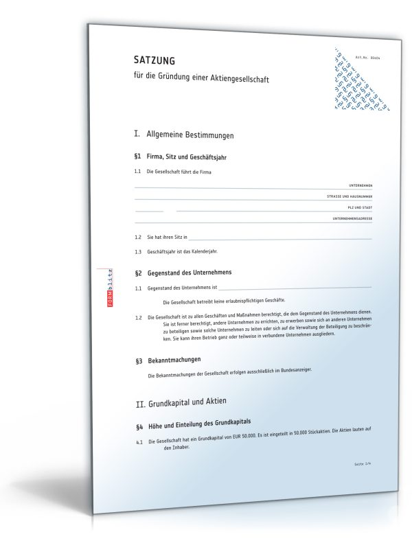 Mustersatzung für die Gründung einer Aktiengesellschaft 1