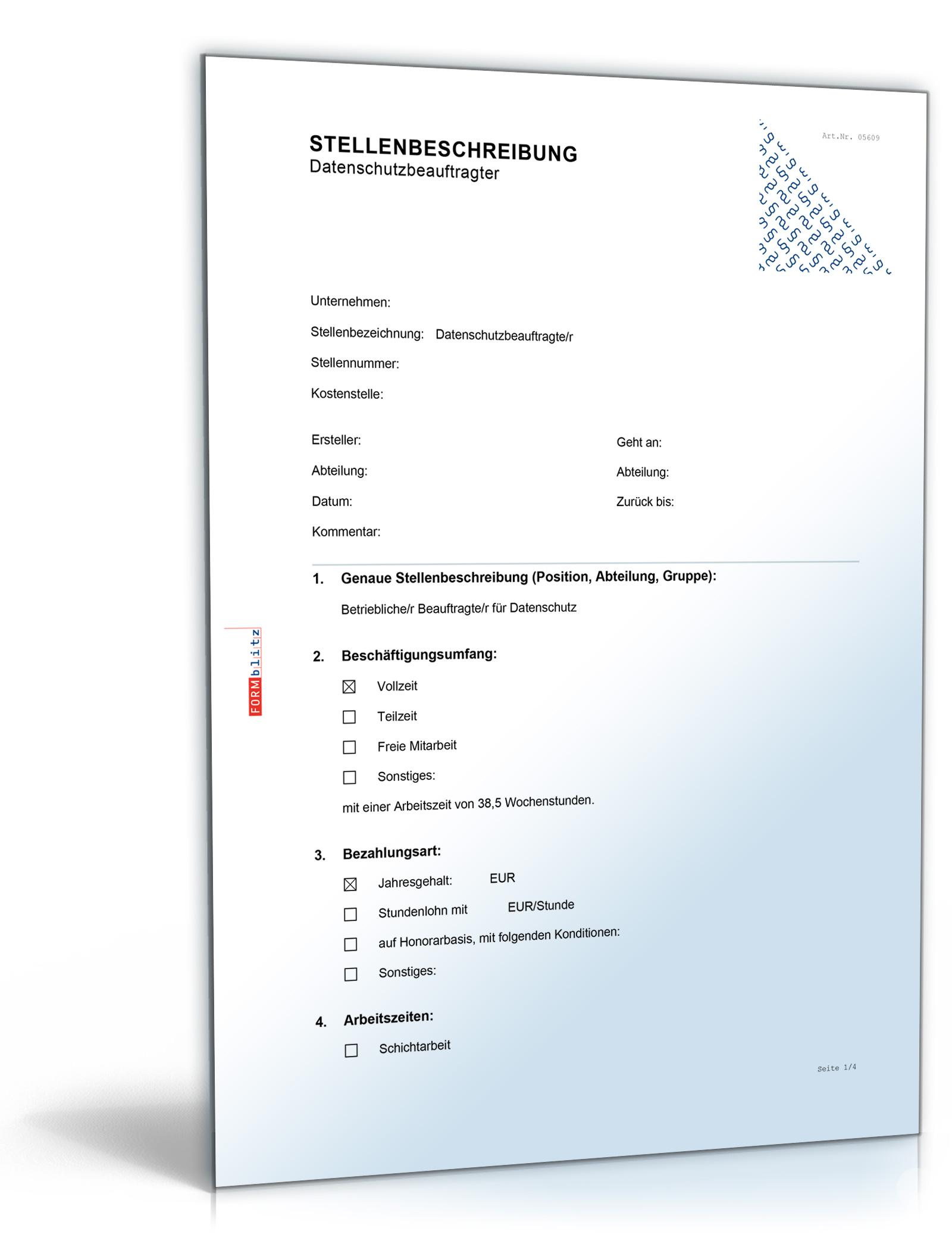 Stellenbeschreibung Datenschutzbeauftragte/r