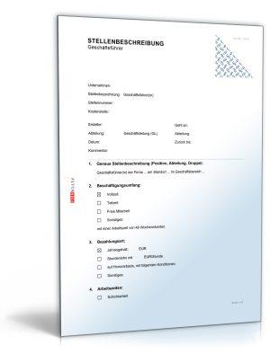 Stellenbeschreibung Geschäftsführer/-in