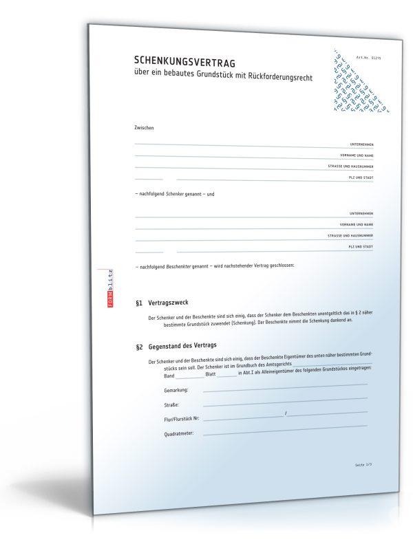 Schenkungsvertrag über ein Haus/ bebautes Grundstück mit Rückforderungsrecht 1