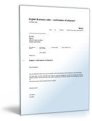 Geschäftsbrief Versandbestätigung (Shipment confirmation)