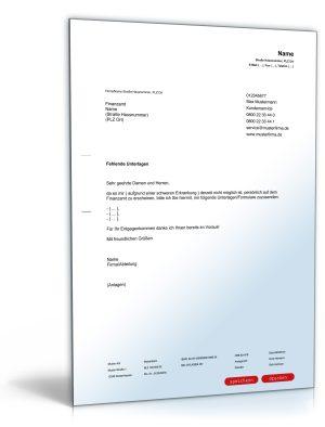 Bitte an das Finanzamt um Zusendung von Unterlagen / Formularen