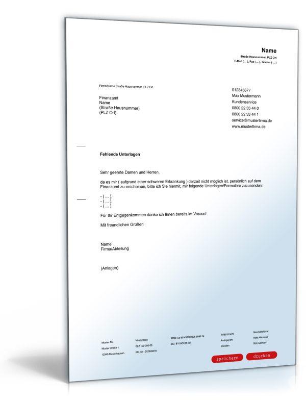 Bitte an das Finanzamt um Zusendung von Unterlagen / Formularen 1