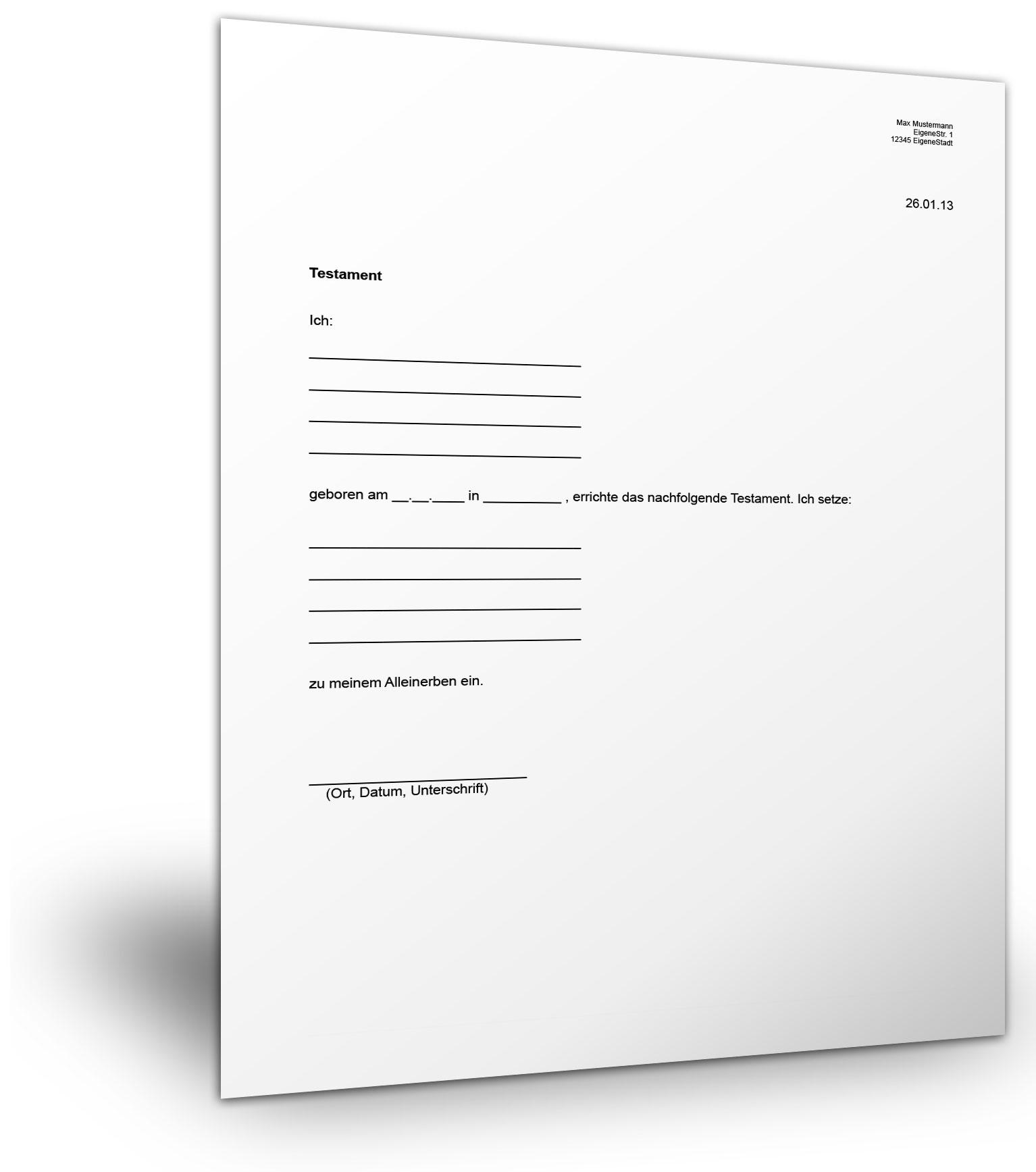 informationen zur testamentvorlage - Testament Muster Kostenlos