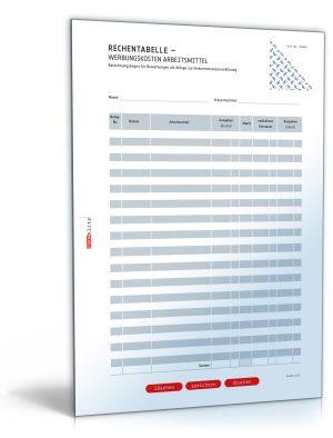 Rechentabelle: Werbungskosten Arbeitsmittel (mit Mehrwertsteuer)
