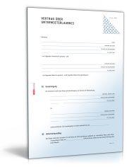 Vertrag über Untermieterlaubnis