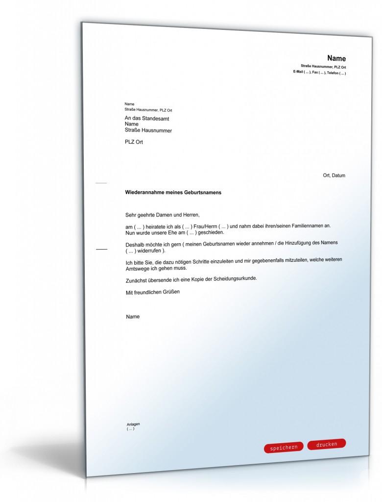 Wohnvorteil Nach Scheidung Berechnen : antrag auf wiederannahme des geburtsnamens nach einer scheidung ~ Themetempest.com Abrechnung