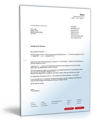 Kündigung Mietvertrag (fristgemäß, Vermieter)