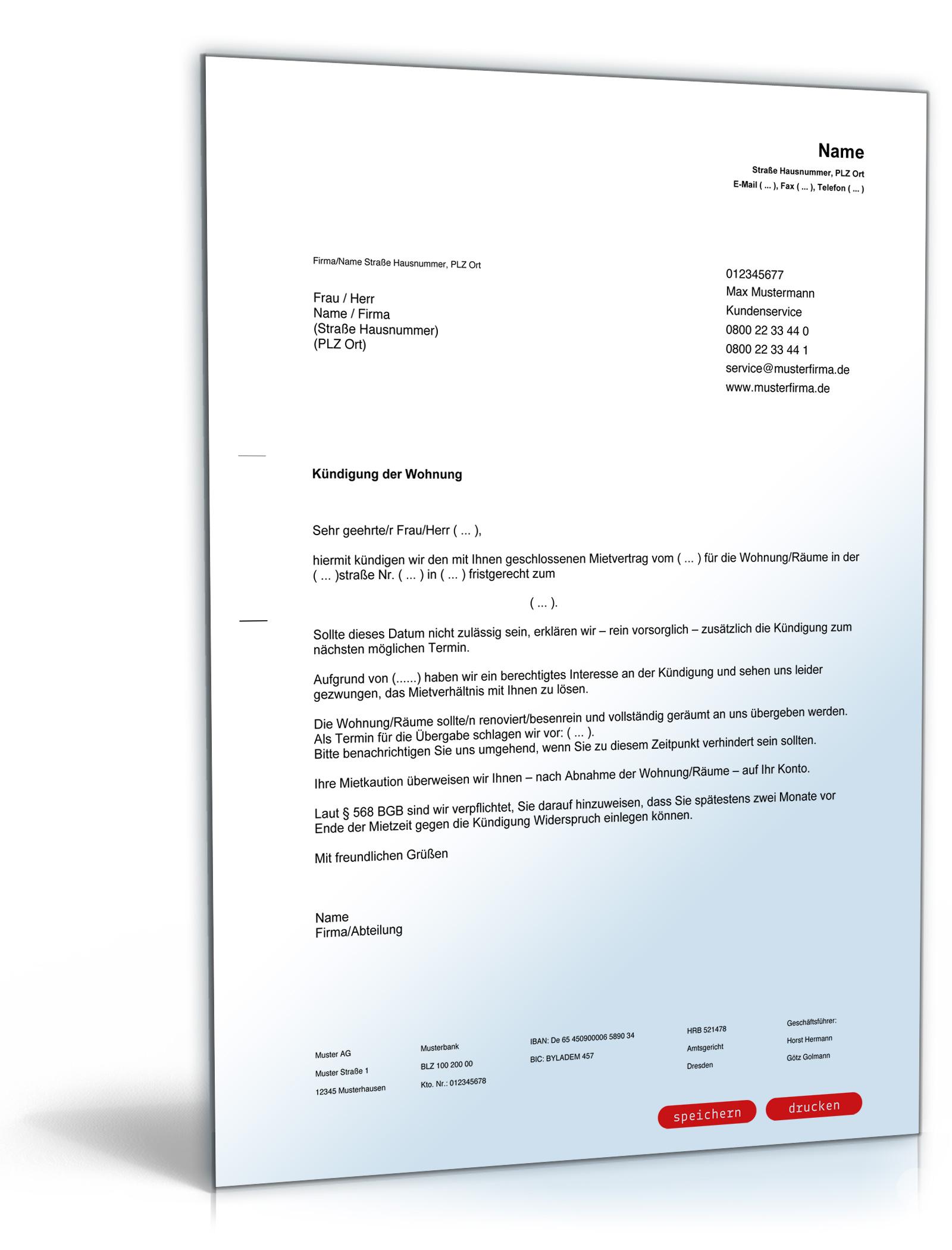 Kündigung Mietvertrag Fristgemäß Vermieter