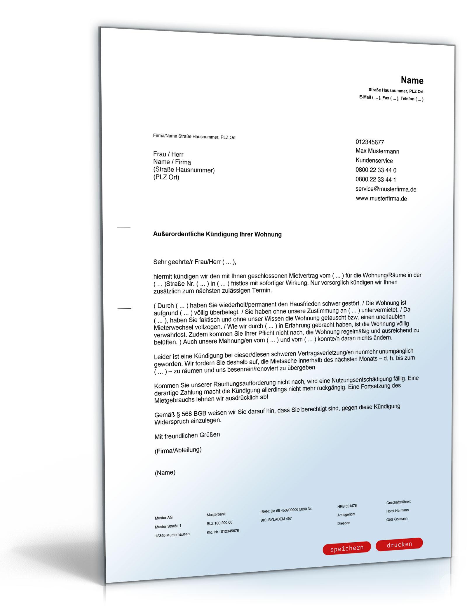 Kündigung Mietvertrag (fristlos, Vermieter)