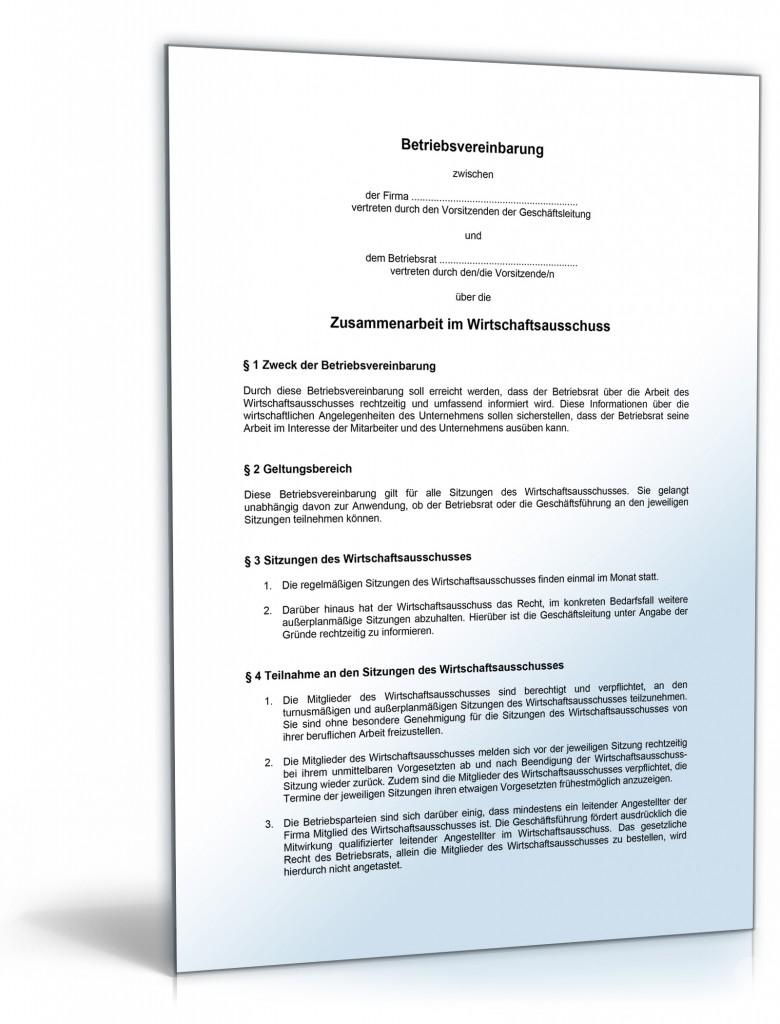 Musterbriefe Zusammenarbeit : Betriebsvereinbarung über die zusammenarbeit im